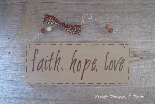 Handpainted Wood Plaque - Faith, Hope, Love