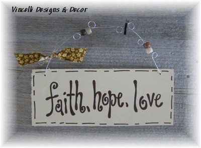 Handpainted Wood Plaque - Faith, Hope, Love (Cream)-sign, wood, plaque, handpainted, gift, faith, hope, love,