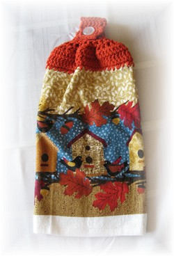 Crocheted Hand Towel -  Fall Birdhouse-crochet, hand towel, towel, fall, leaves, birdhouse
