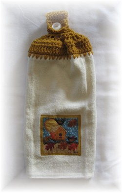Crocheted Hand Towel - Fall Birdhouse Gold-fall, birdhouse, towel, hand towel, kitchen,