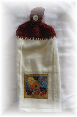 Crocheted Hand Towel - Fall Birdhouse Red-kitchen, birdhouse, fall, autumn, hand towel, towel,