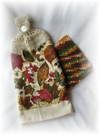 Crocheted Matching Hand Towel & Pot Holder - Fall Leaves 2-hand towel, kitchen, pot holder, fall, autumn, leaf, leaves