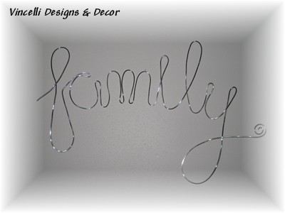 Aluminum Wire Word Art - Family