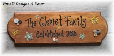 Large Plaque - Family Name Established-family, plaque, wood, handpainted, wooden, gift