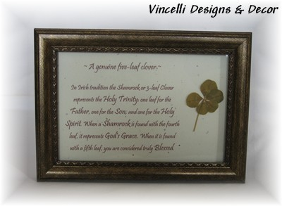 Genuine Five Leaf Clover in Frame-st. patrick's day, clover, five, leaf, luck, blessed,
