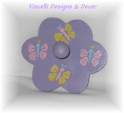 Flower Wall Hook - Purple with Butterflies-flower, purple, child, girl, gift, baby, butterfly