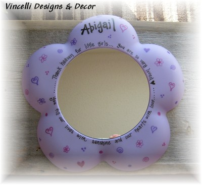 Flower Mirror-girl, mirror, flower, purple, blue, pink, gift, child,