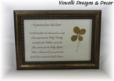 Genuine Four Leaf Clover in Frame-four, clover, st. patrick's day, luck, irish, four leaf clover, leaf,