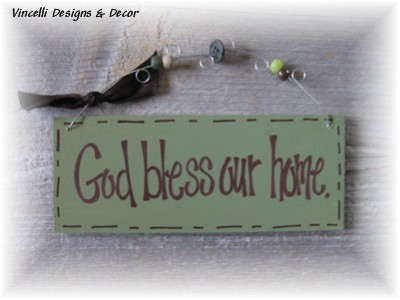 Handpainted Wood Plaque - God Bless Our Home
