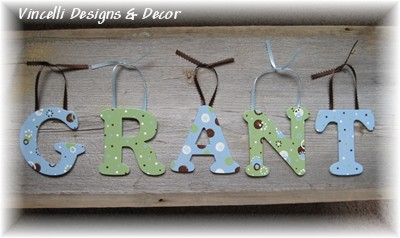 Wooden Letter Custom Wall Hangings - Blue & Green-child, baby, letter, wood, wooden, handpainted, gift, alphabet, name, wall hanging, green, blue, boy,