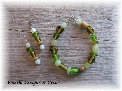 Green Bracelet & Earring Set 2
