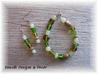 Green Bracelet & Earring Set 1