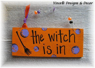 Handpainted Wood Plaque - Halloween Witch-handpainted, wood, plaque, sign, halloween, the witch is in, witch,