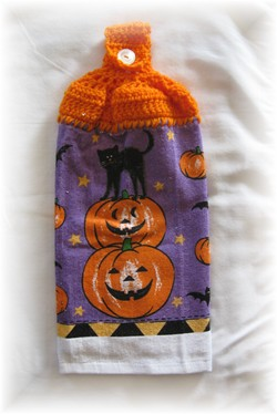 Crocheted Hand Towel - Pumpkins with Black Cat-pumpkins, black cat, cat, halloween, hand towel, towel, kitchen,