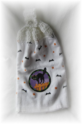 Crocheted Hand Towel - Black Cat w/ Bats-hand towel, halloween, kitchen,