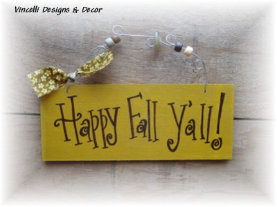 Handpainted Wood Plaque - Happy Fall Y'all 2