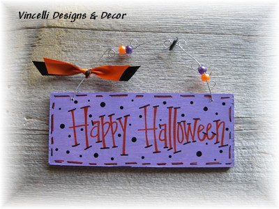 Handpainted Wood Plaque - Happy Halloween-handpainted, wood, plaque, sign, halloween, happy halloween,