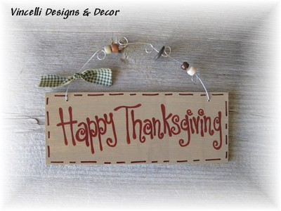 Handpainted Wood Plaque - Happy Thanksgiving