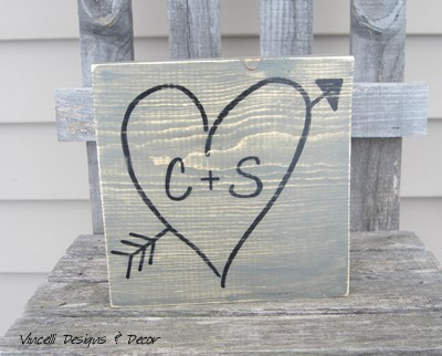 Heart/Arrow Initial Plaques