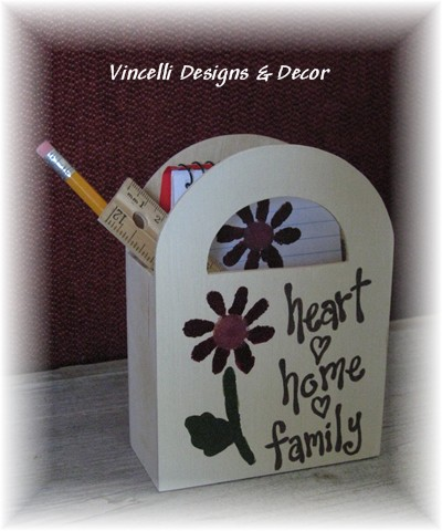 Wooden Gift Bag - Heart, Home, Family-wooden gift bag, wood, handpainted,