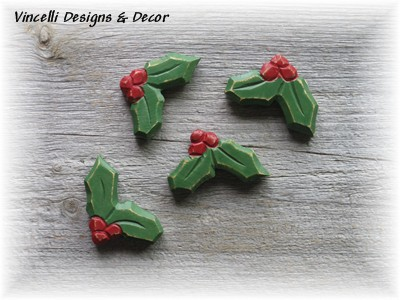 Christmas Holly Magnets - Set of 4-christmas, stocking stuffer, holly, magnet,
