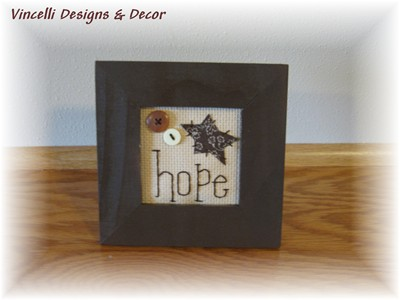 Embroidered Word Frame - Hope-embroidered, frame, hope, gift, wooden,