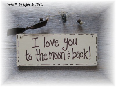 Handpainted Wood Plaque - To the Moon & Back (Cream)