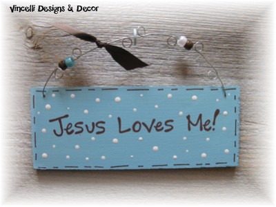 Handpainted Wood Plaque - Jesus Loves Me (Blue)