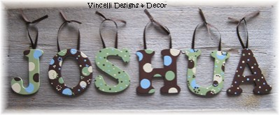 Wooden Letter Custom Wall Hangings - Brown & Green-child, baby, letter, wood, wooden, handpainted, gift, alphabet, name, wall hanging, brown, green, boy,