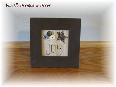 Embroidered Art in Frame - Joy-joy, frame, gift, wooden, embroidered,