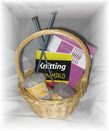 Knitting Gift Basket-gift basket, knit, knitting, yarn, needles,
