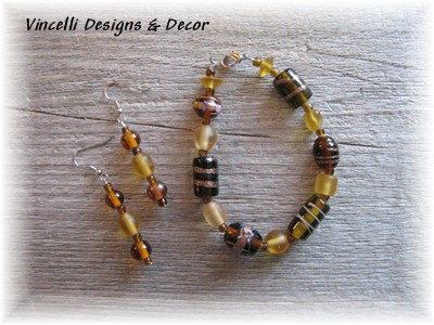 Brown Dark/Light Bracelet & Earrings