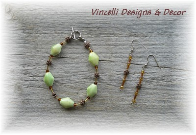 Green/Brown Bracelet And Earrings