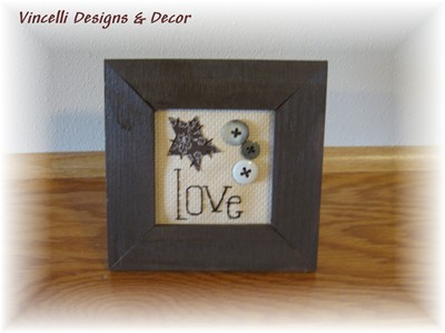 Embroidered Art in Frame - Love-love, embroidered, gift, wooden, wedding,