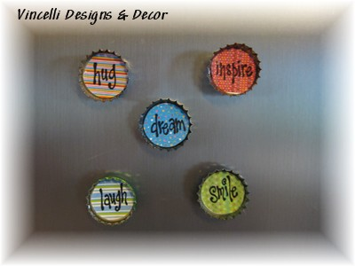 Bottle Cap Magnets - Fun Words - Set of 5