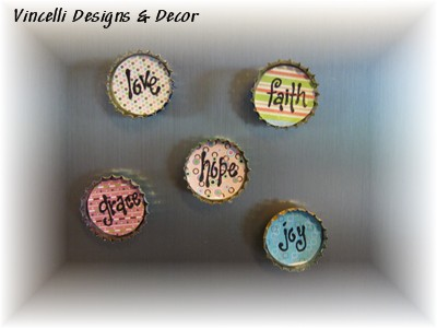 Bottle Cap Magnets - Beautiful Words - Set of 5