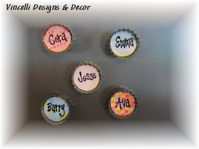 Bottle Cap Magnets - Any Words - Set of 5-bottle caps, magnets,