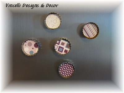 Bottle Cap Magnets - Purple Art - Set of 5-bottle cap, magnet,