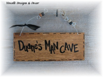 Handpainted Wood Plaque - Man Cave