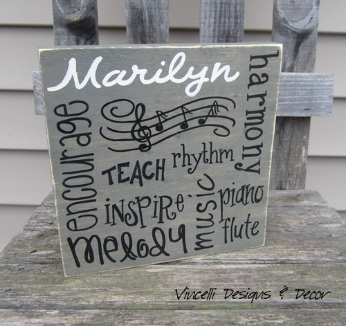 Wood Plaque - Music Teacher Word Collage - Gray