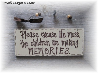 Handpainted Wood Plaque - Children Mess
