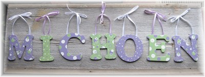 Wooden Letter Custom Wall Hangings - Green & Purple-child, baby, letter, wood, wooden, handpainted, gift, alphabet, name, wall hanging, green, purple, girl, boy,