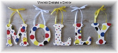 Wooden Letter Custom Wall Hangings - White & Primary-child, baby, letter, wood, wooden, handpainted, gift, alphabet, name, wall hanging, girl, boy, primary, colors,