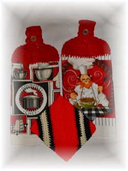Crocheted Hand Towels & Potholder - Chef Style-towel, crochet, chef, potholder, hand towel,