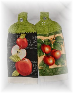 Crocheted Hand Towels - Apples - Set of 2-apples, kitchen, hand towel, crochet,