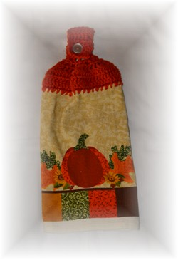 Crocheted Hand Towel - Pumpkin-hand towel, pumpkin, crochet, kitchen,