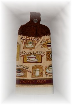 Crocheted Hand Towel - Coffee 2-coffee, hand towel, crochet, kitchen,