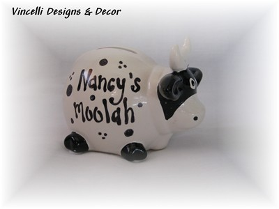 &quot;Moolah&quot; Piggy Bank-piggy bank, cow bank, cow, ceramic, gift,