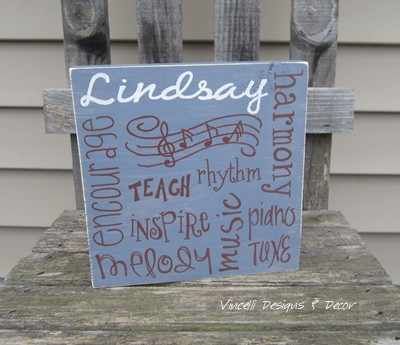 Wood Plaque - Music Teacher Word Collage