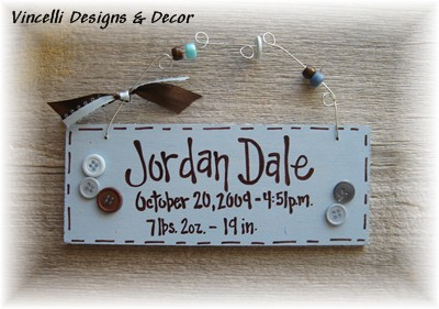 Baby Birth Info Plaque - Blue-baby, gift, baby shower, boy, blue, newborn,